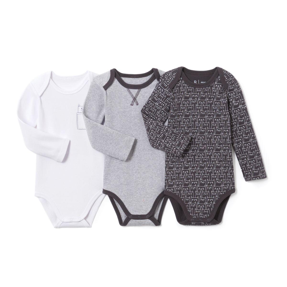 Lot de 3 bodies bébé en coton