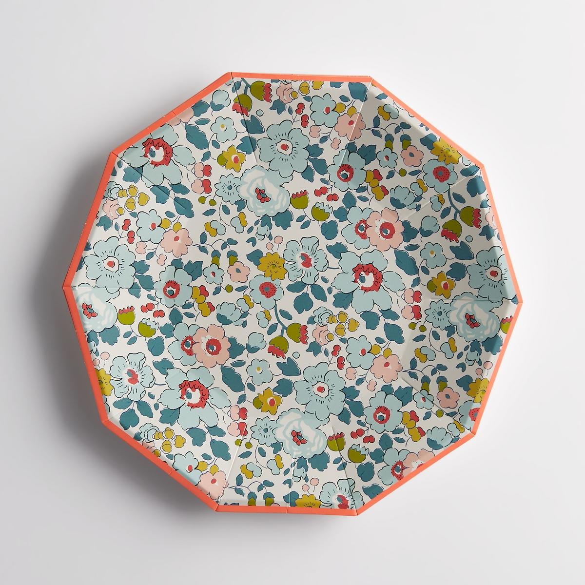 Комплект из 12 тарелок из картона Liberty BetsyХарактеристики тарелок Liberty : Одноразовые тарелки из картона.Форма десятиугольника (10 сторон).Кайма оранжевого цвета.Размеры тарелок Liberty : диаметр 23 см.Другие комплекты и коллекции предметов декора стола вы можете найти на сайте laredoute.ru<br><br>Цвет: цветочный рисунок