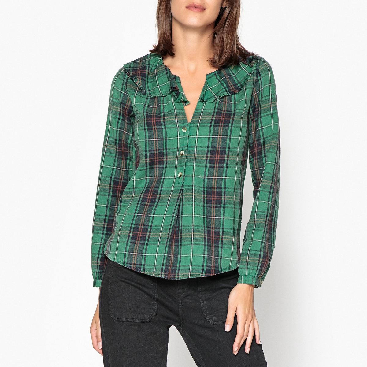 Блузка в клетку с воланами и длинными рукавами CHECK рубашка в клетку rip curl faded check shirt indian teal