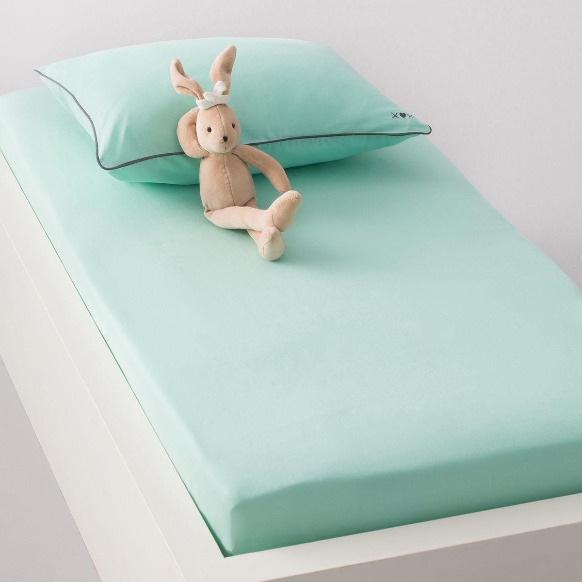 drap housse uni b b toile pur coton lot de 2 x. Black Bedroom Furniture Sets. Home Design Ideas