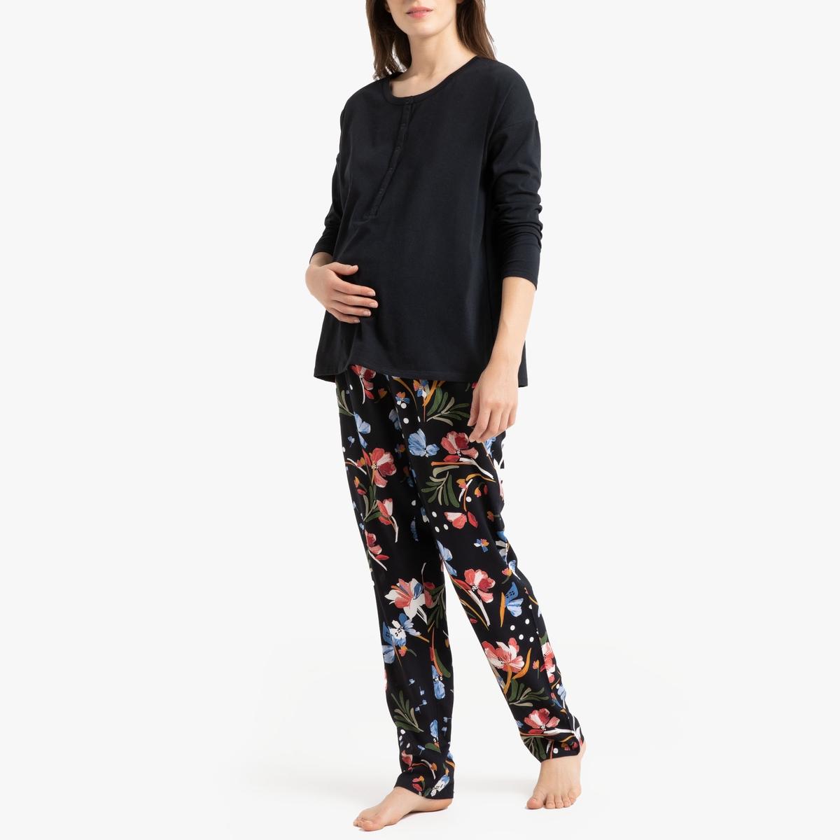 Пижама La Redoute Для периода беременности и грудного вскармливания 34 (FR) - 40 (RUS) черный джинсы la redoute узкие для периода беременности 36 fr 42 rus серый