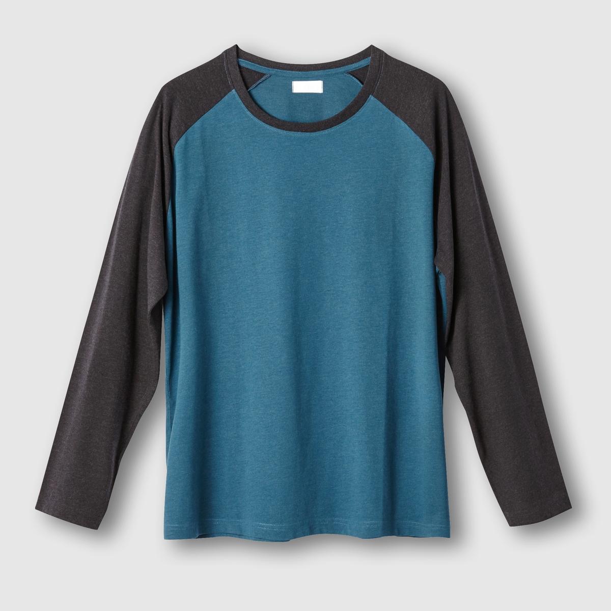 Футболка с длинными рукавамиФутболка двухцветная с длинными рукавами. Круглый вырез. Контрастная отделка выреза и рукавов. Джерси, 80% хлопка, 20% полиэстера. Длина 75 см.<br><br>Цвет: сине-зеленый/темно-серый меланж<br>Размер: 62/64.70/72