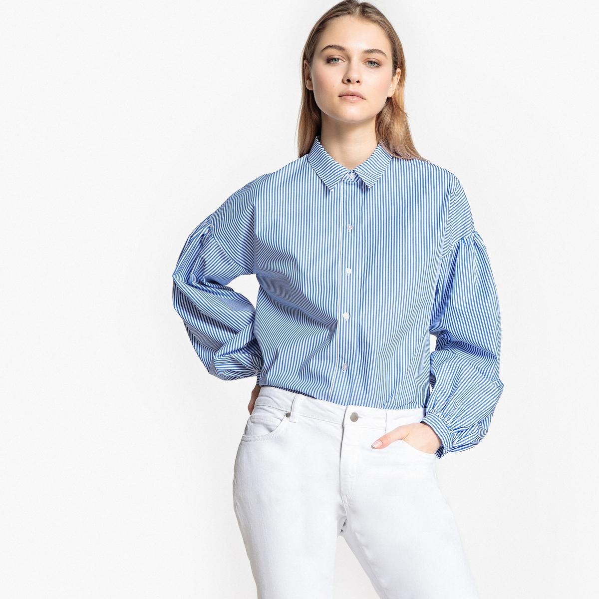 Блузка свободного покроя в стиле бойфренд, с длинными рукавами