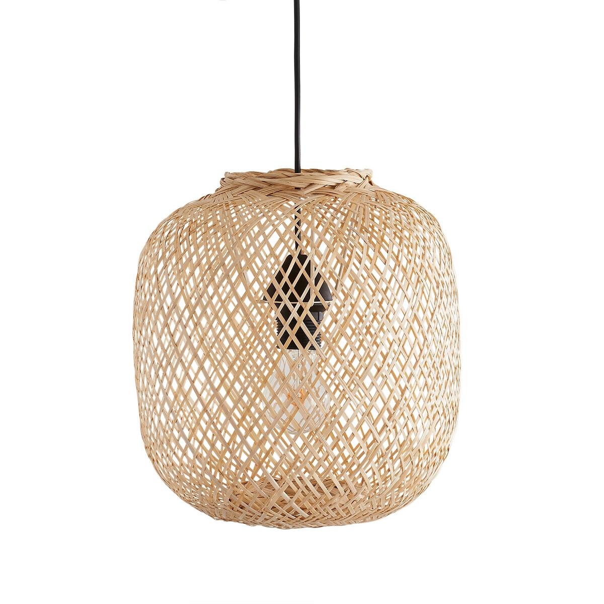 Светильник LaRedoute Круглый из бамбука 33 см Ezia единый размер бежевый салатница laredoute двухцветная из бамбука briama единый размер бежевый