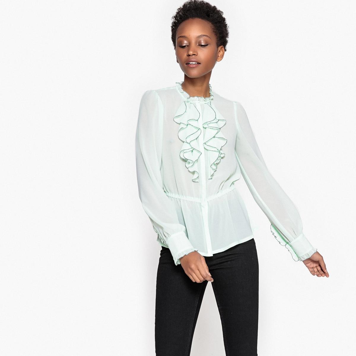 Рубашка приталенная с воланами и длинными рукавами vince camuto lila travel tote