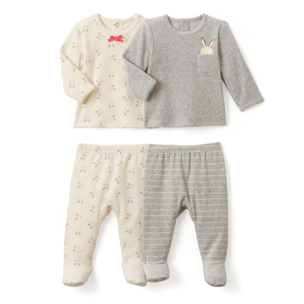 2 пижамы из 2 предметов с рисунком кролик, 0 мес. - 3 годаПижама из 2 предметов из велюра. В комплекте 2 пижамы: 1 пижама с футболкой с длинными рукавами и брюками с рисунком кролик. 1 пижама с футболкой с длинными рукавами с рисунком кролик над нагрудным карманом + 1 брюки в полоску. Верх с застежкой на кнопки сзади. Брюки с эластичным поясом. Носочки с покрытием против скольжения от 12 мес. (74 см), эластичные сзади для лучшей поддержки. Планка застежки на пуговицы для соединения верха и низа. Верх пижамы без этикетки, чтобы не вызывать раздражение или зуд на коже ребенка.    Состав и описание :     Материал       велюр, 75% хлопка, 25% полиэстера.    Уход : Машинная стирка при 30 °C в умеренном режиме с вещами схожих цветов. Стирать, сушить и гладить с изнаночной стороны. Машинная сушка в умеренном режиме. Гладить при низкой температуре.<br><br>Цвет: экрю + серый меланж<br>Размер: 0 мес. - 50 см.2 года - 86 см.18 мес. - 81 см.1 год - 74 см.9 мес. - 71 см.6 мес. - 67 см.3 мес. - 60 см.1 мес. - 54 см