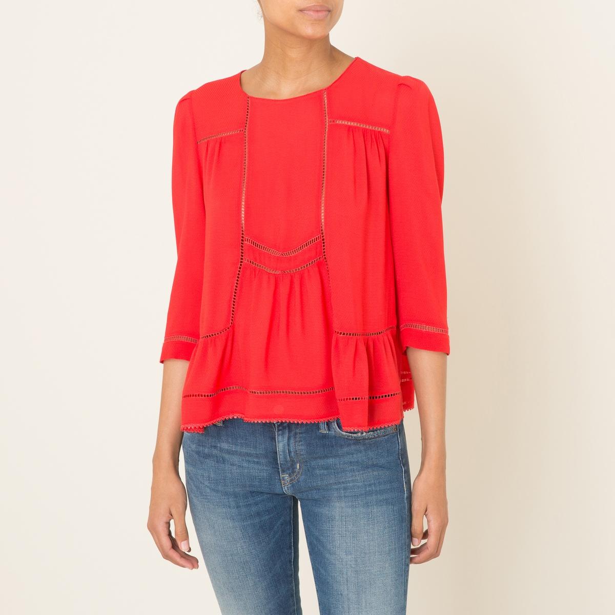Блузка WOLTБлузка объемная BA&amp;SH - модель WOLT из вуали. Круглый вырез. Рукава до локтей. Ажурная вышивка. Расклешенный низ. Состав и описание    Материал : 100% полиэстер   Марка : BA&amp;SH<br><br>Цвет: красный