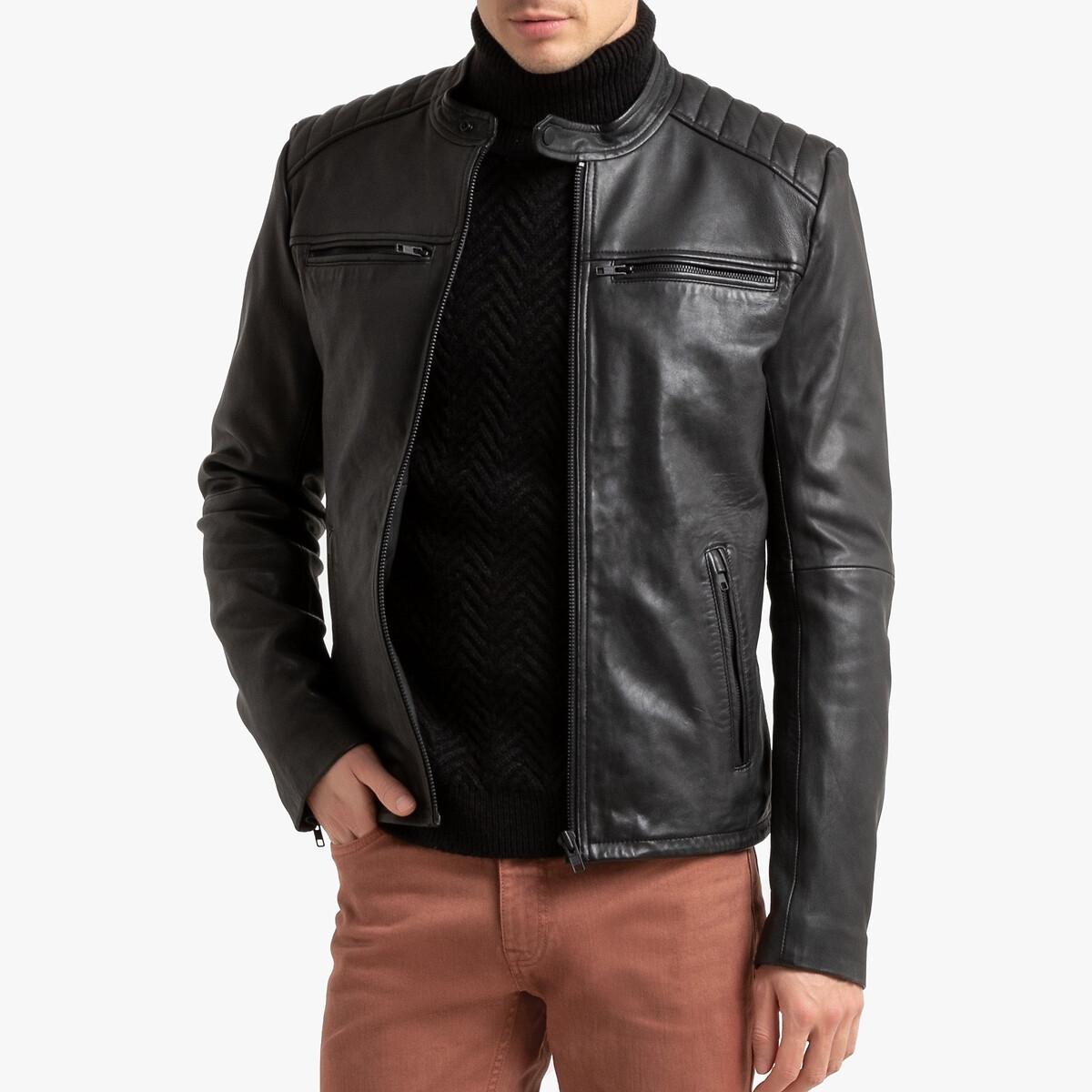 Blusão em pele de carneiro, estilo motard