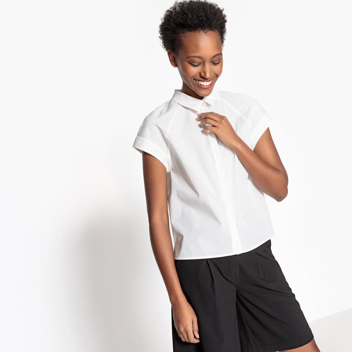 Фото - Рубашка прямого покроя с короткими рукавами из поплина рубашка однотонная прямого покроя с короткими рукавами 100% лен