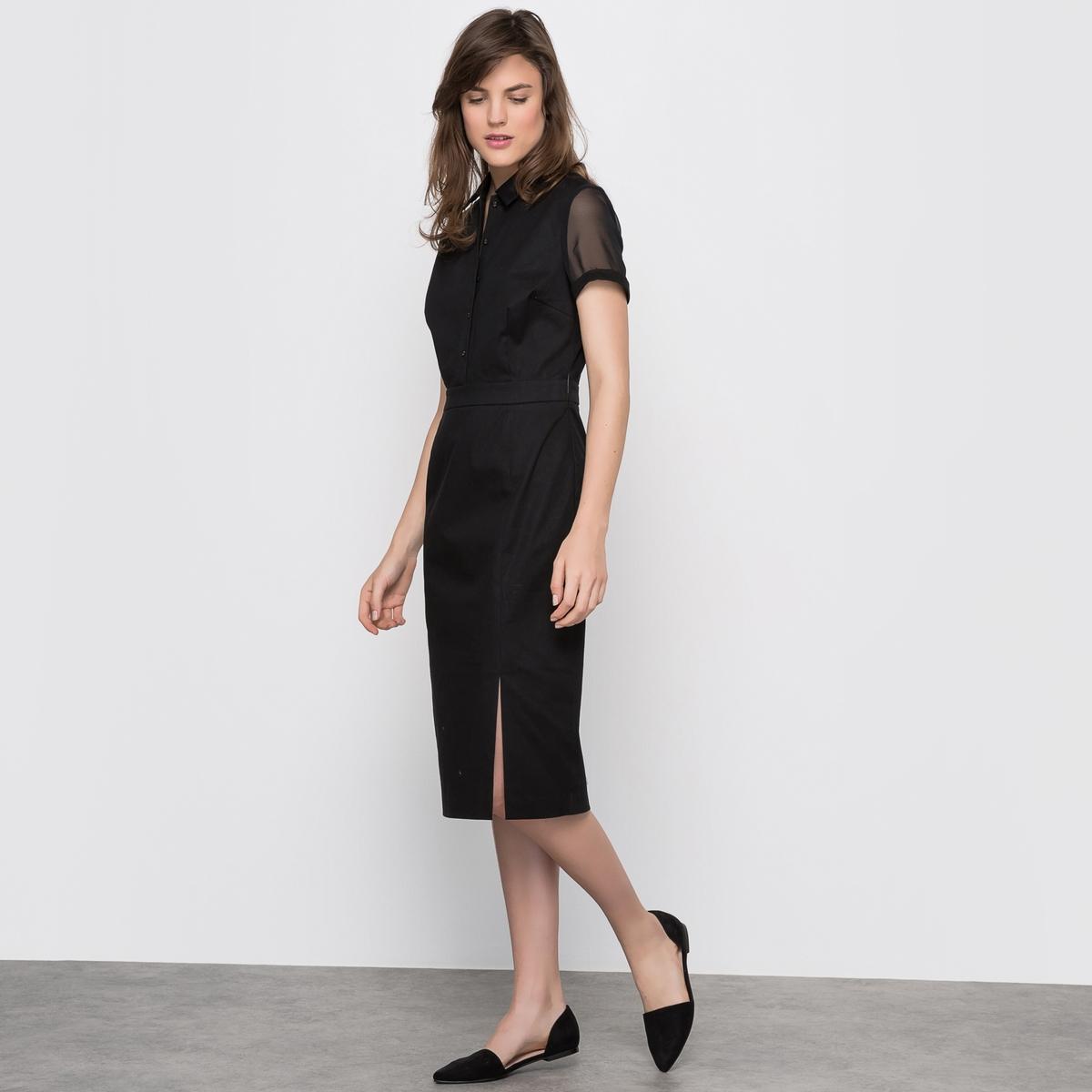Платье с короткими рукавами и воротником-поло