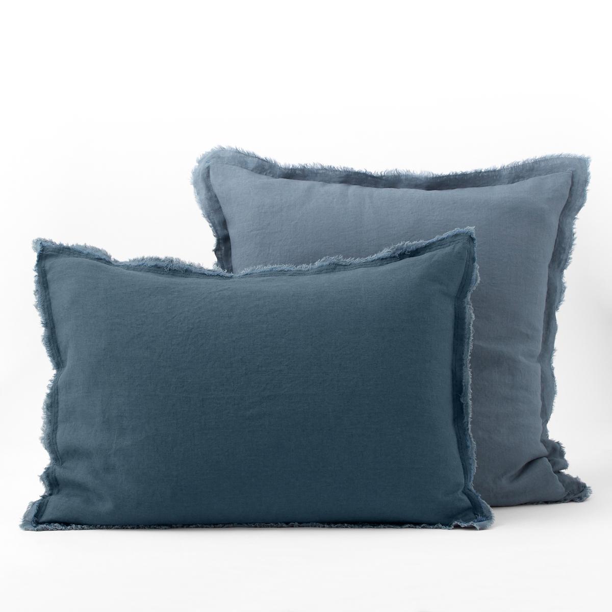 Наволочка La Redoute С двойной бахромой из стираного льна ALHANASIA 50 x 70 см синий наволочка наволочка soho лен красный синий белый 45 45 см