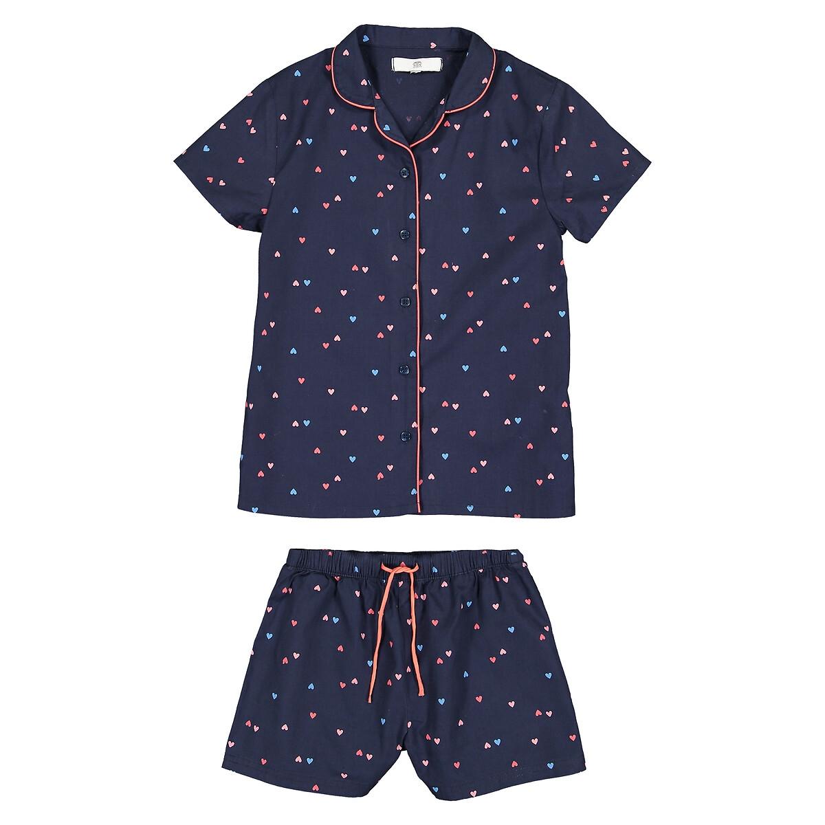 Пижама La Redoute С принтом сердечки 6 лет - 114 см синий полосатые la redoute шорты от до лет 6 лет 114 см синий