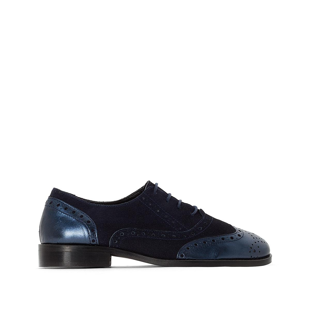 Ботинки-дерби кожаные из двух материалов с перфорированным мыском