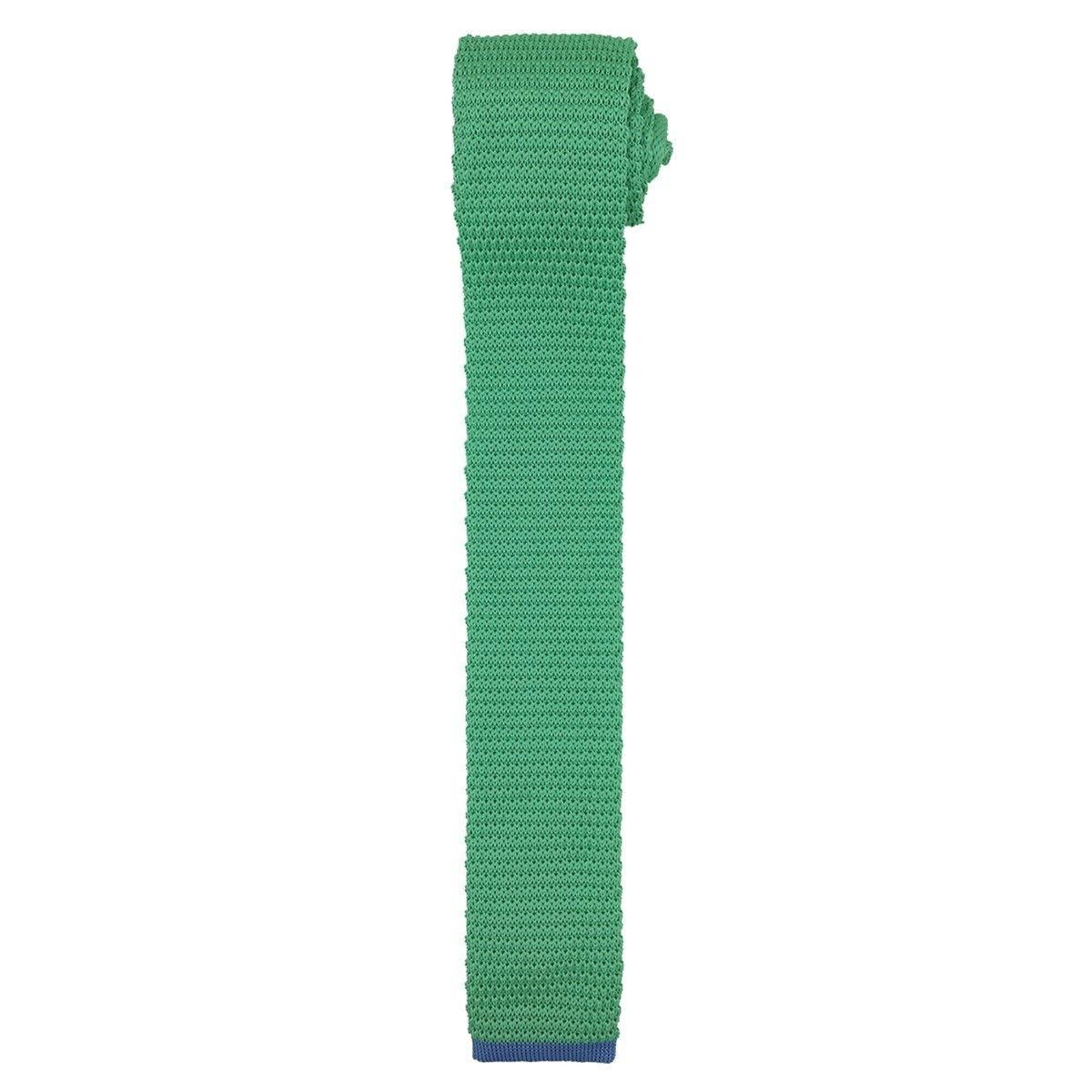 Cravate tricot verte àpointe bleue