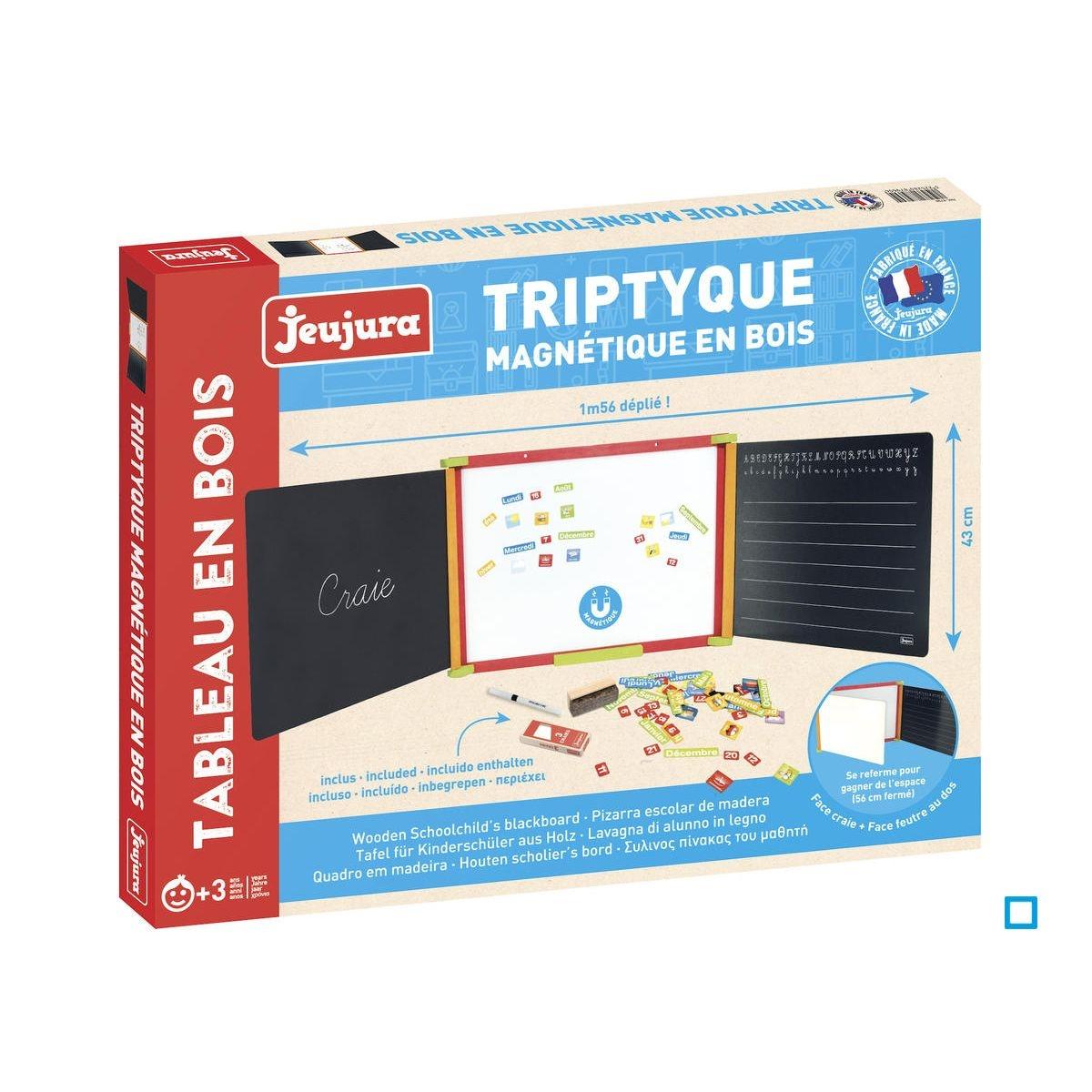 TRIPTYQUE EN BOIS TEINTE MAGNET - JEU8796