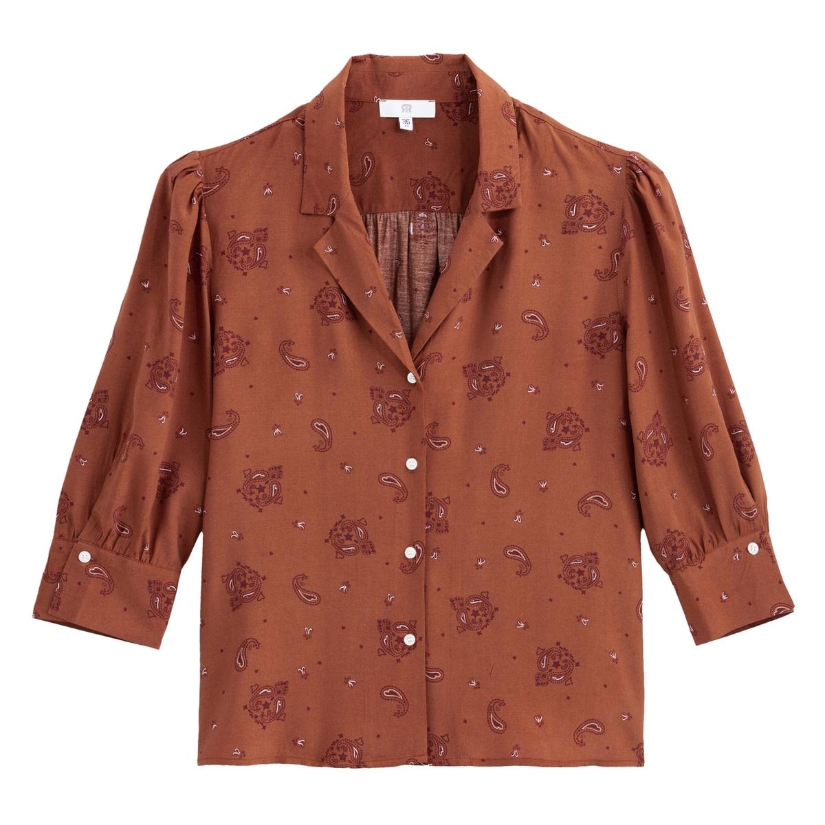 Blusa con estampado fular y mangas por los codos