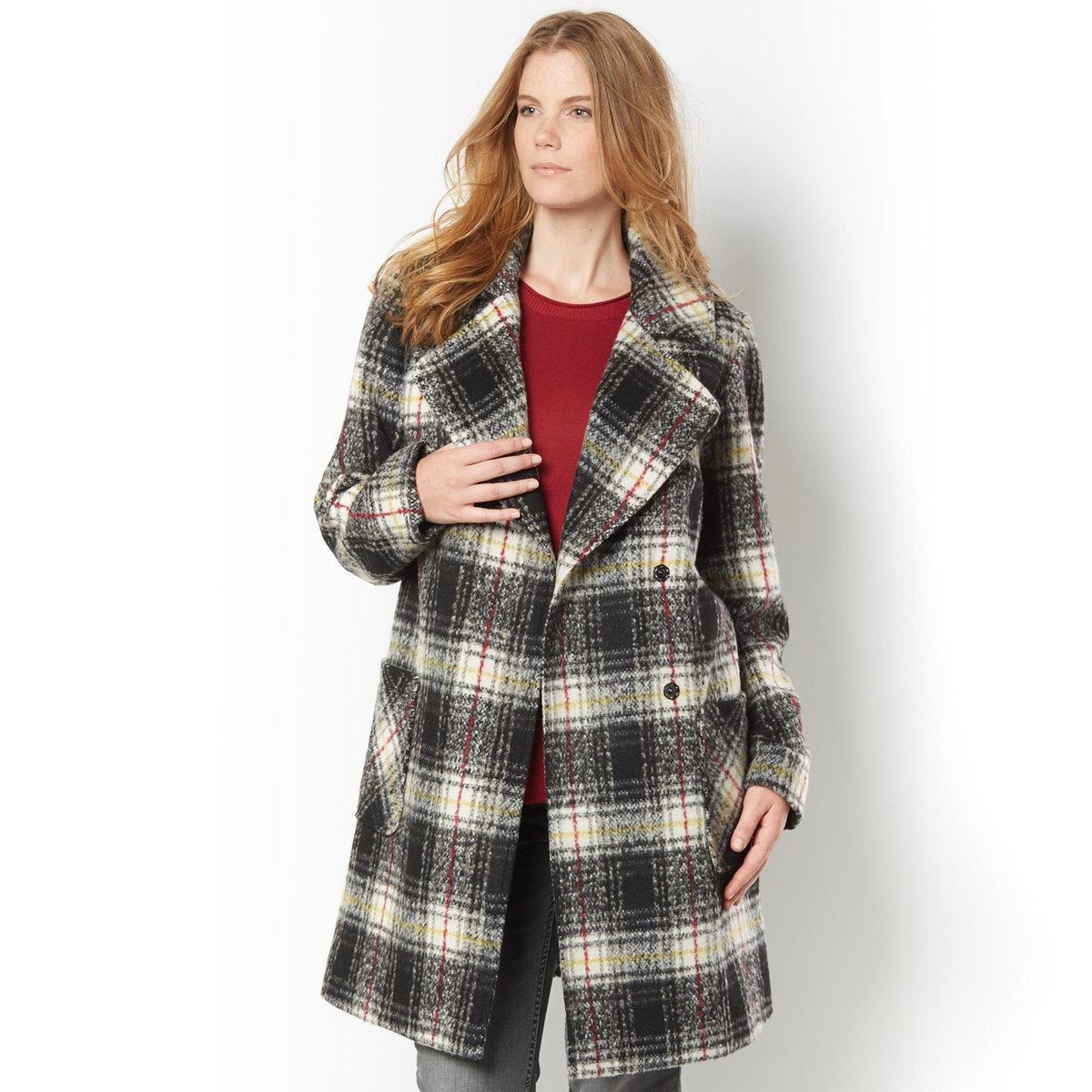 Пальто с рисунком в клетку и большим вырезом – TAILLISSIME