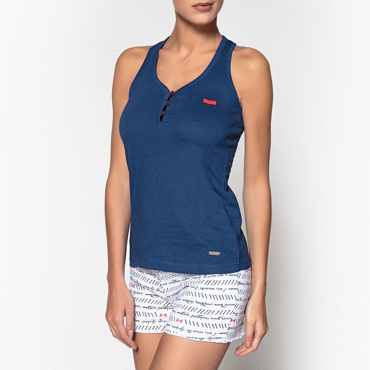 Pyjashort coton biologique, imprimé, Oceane