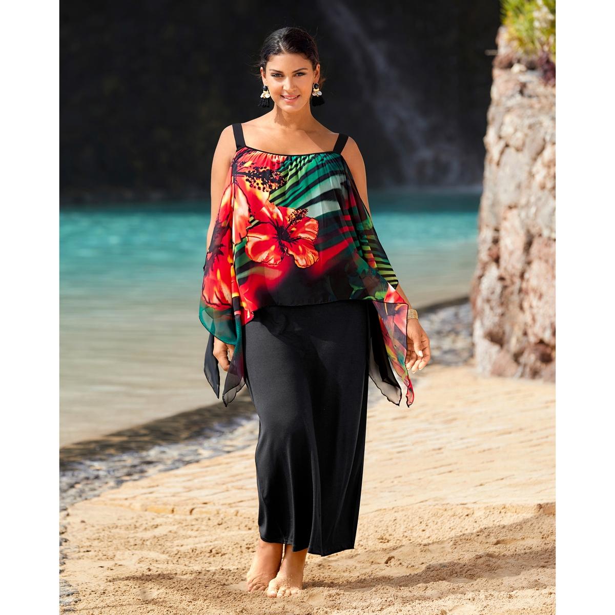 Платье пляжноеПляжное платье ULLA POPKEN. Длинное платье без рукавов из непрозрачного джерси. Верх из вуали, приспущенные плечи, экзотический рисунок яркой расцветки спереди. Верх: 100% полиэстер. Длина . 130 см<br><br>Цвет: разноцветный<br>Размер: 58 (FR) - 64 (RUS)