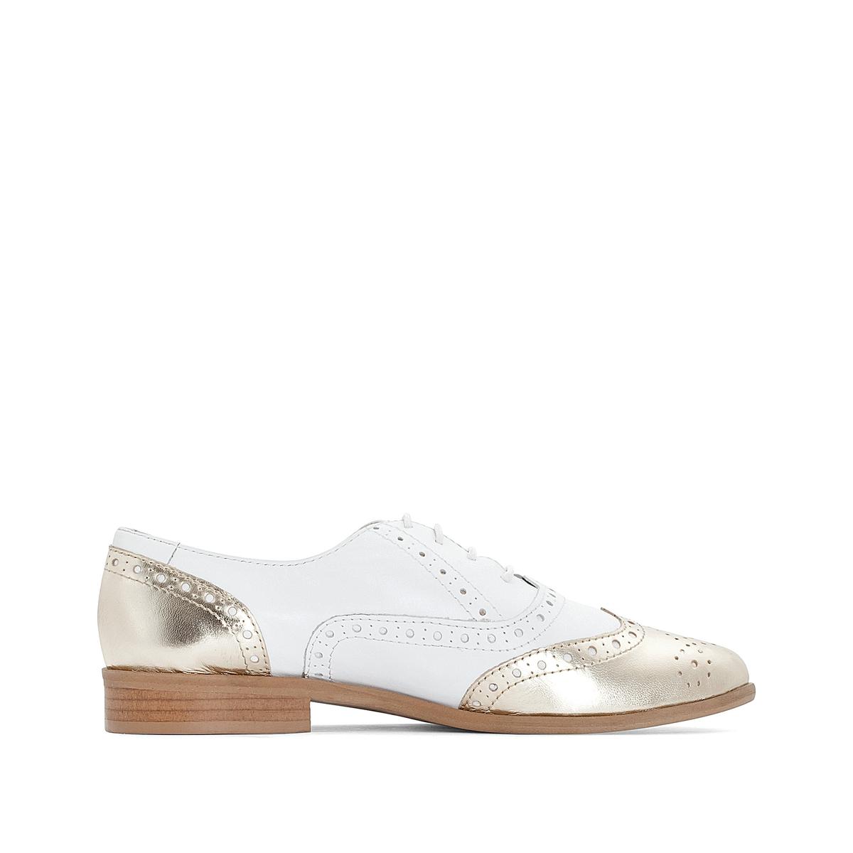 Ботинки-дерби с мыском золотистого цвета