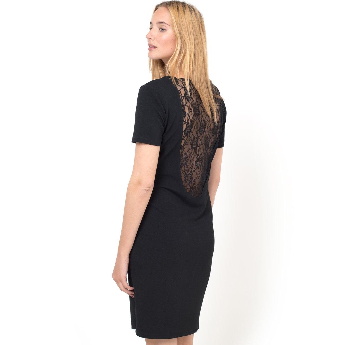 Платье с кружевной спинкой и короткими рукавами<br><br>Цвет: черный