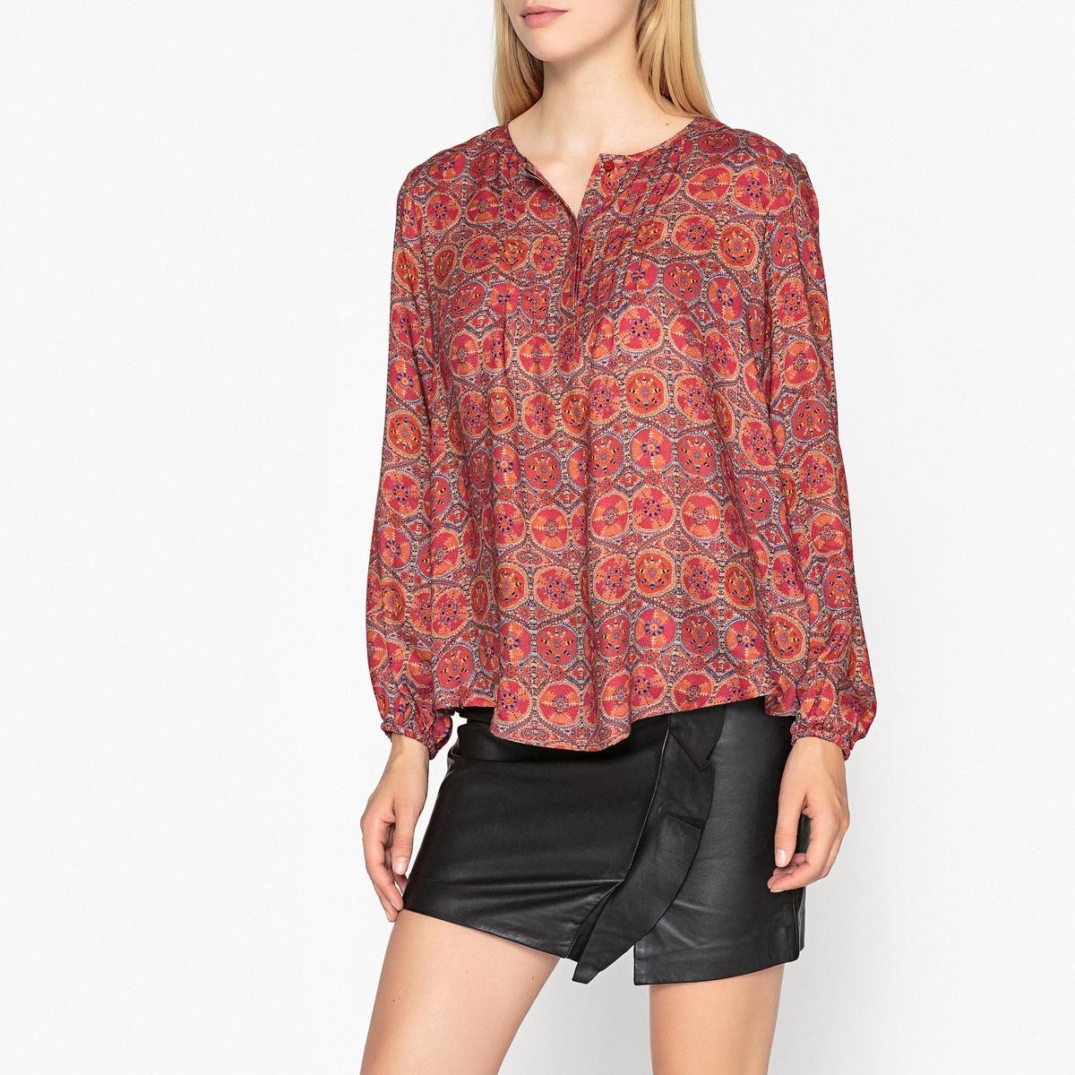 Рубашка-блузка с длинными рукавами и круглым вырезом