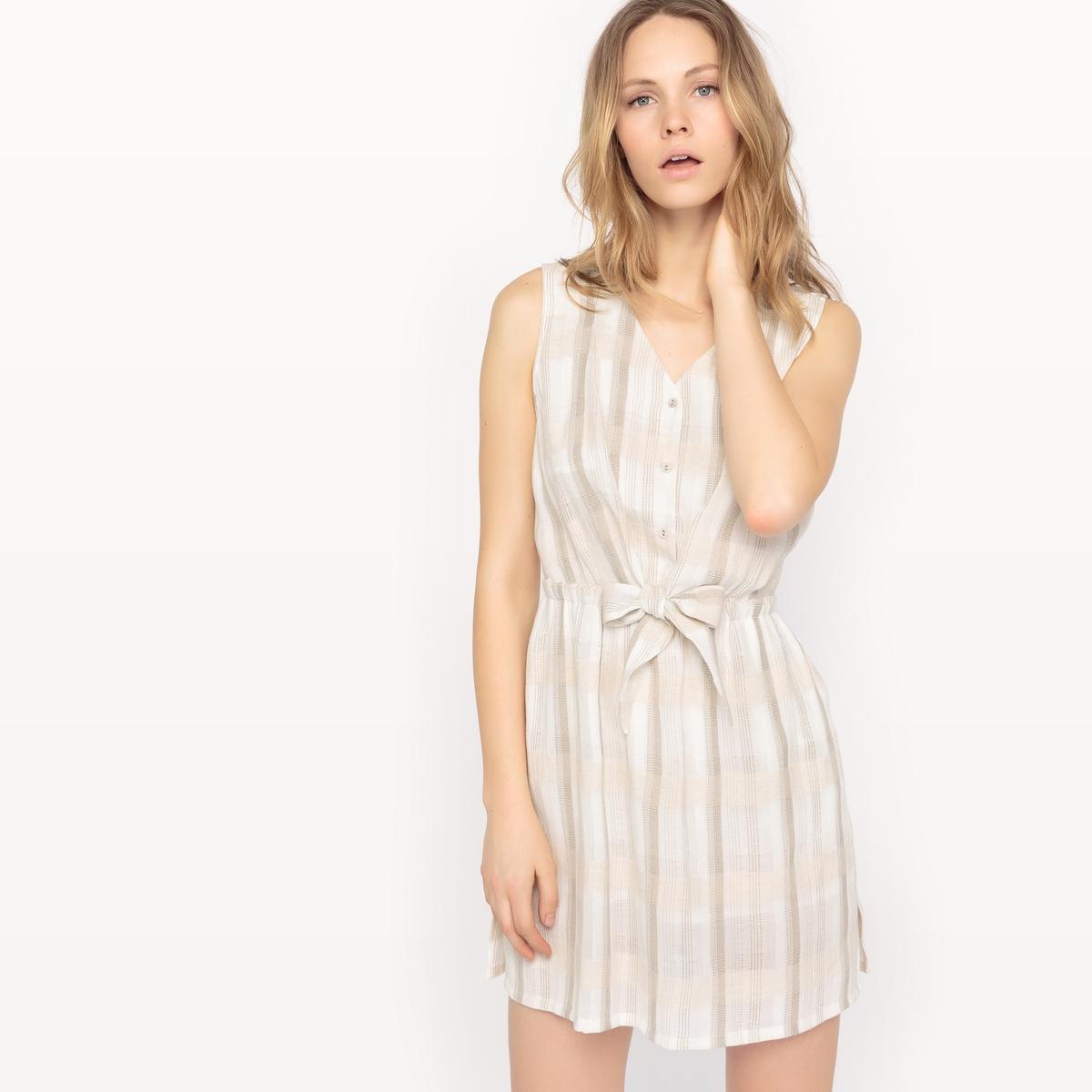 Платье без рукавов с рисунком в клетку платье без рукавов с декором see u soon