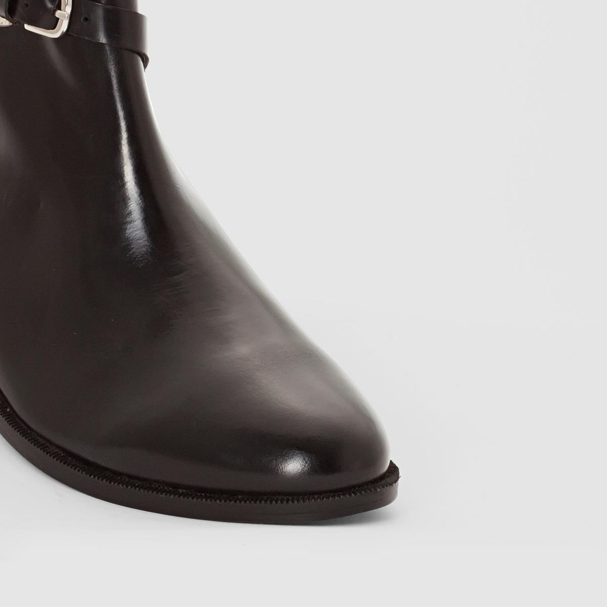 Ботинки из кожи с ремешкомВерх/Голенище : Кожа                     Подкладка : Кожа               Стелька : Кожа               Подошва : эластомер         Форма каблука : плоский               Мысок : Закругленный               Застежка : На молнию<br><br>Цвет: черный<br>Размер: 41.38.36
