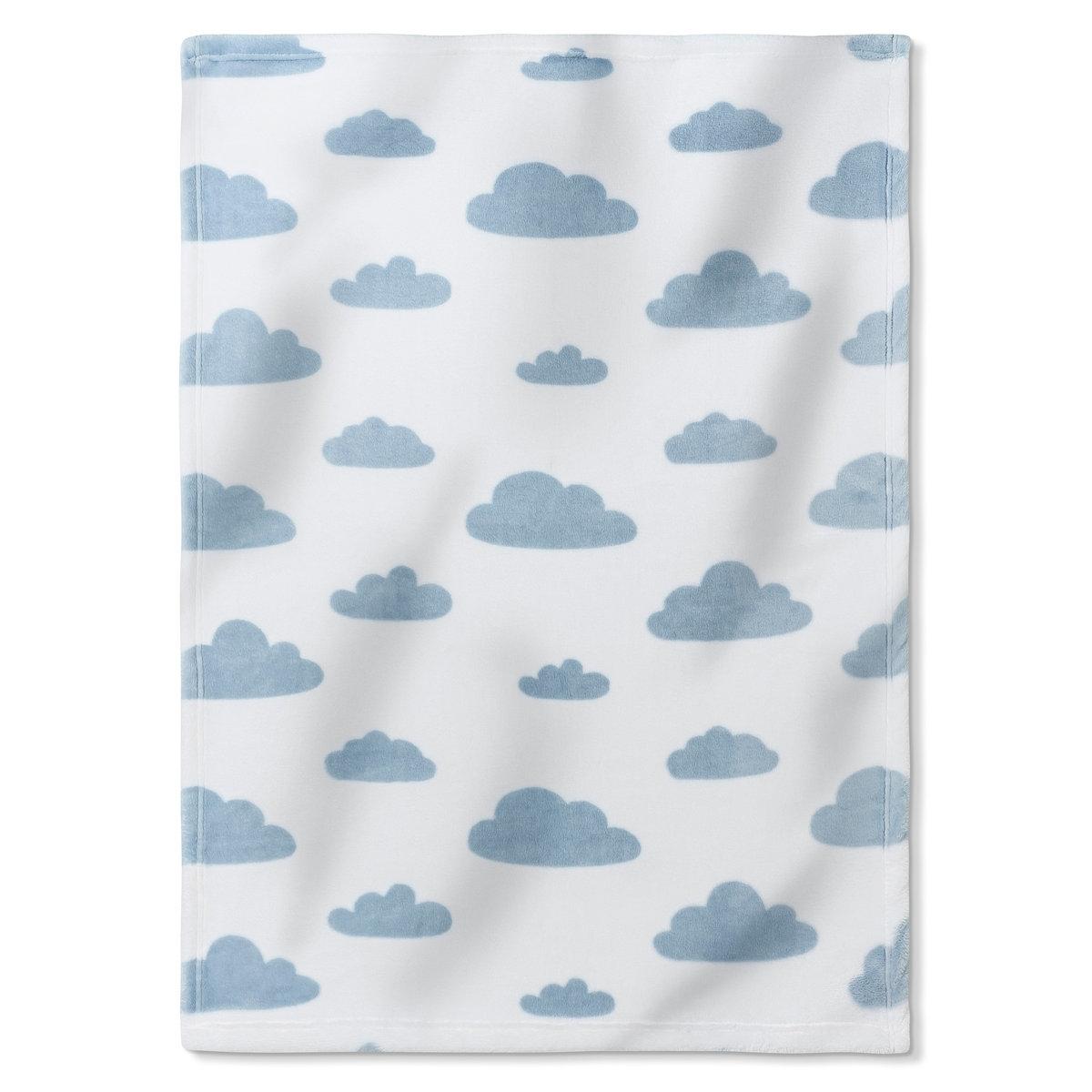 ПледФлис, 100% полиэстера с рисунком облака на белом фоне.   Размеры: 70 x 100 см.   Машинная стирка при 40°.<br><br>Цвет: синий/ белый<br>Размер: единый размер