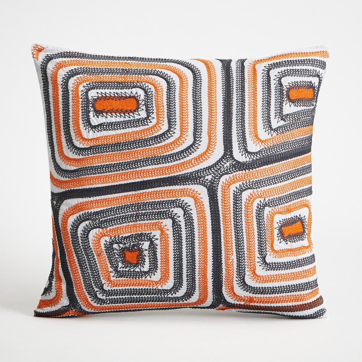 Чехол для подушки DunollyЧехол для подушки Dunolly с рисунком и вышивкой. Застежка на молнию.  Стирка при 30°.Материал :- 100% хлопок. Размеры :- 40 x 40 см.Подушка продается отдельно на сайте.<br><br>Цвет: оранжевый/ черный<br>Размер: 40 x 40  см