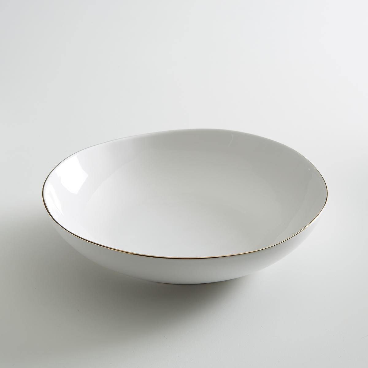 Комплект из 4 глубоких тарелок из фаянса, Catalpa4 суповые тарелки Catalpa. Из фаянса, покрытого белой глазурью, с тонкой каймой золотистого цвета. Органичная форма и неравномерные контуры придают этим тарелкам нотку оригинальности. Сделано в Португалии. - Размеры : ?22 x В4,2 см.<br><br>Цвет: золотисто-белый