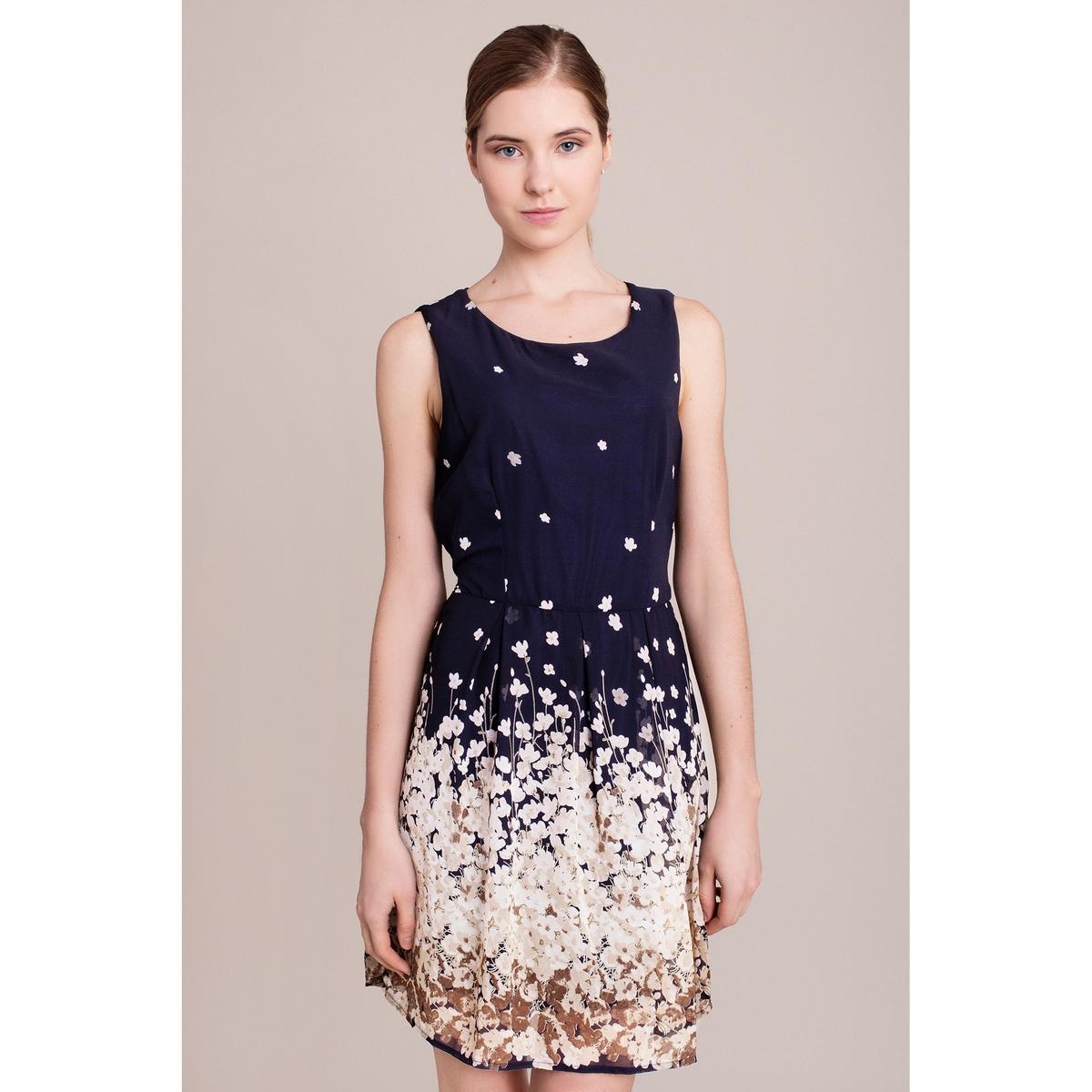 Платье с рисунком без рукавовХарактеристики и описание        Материал         100% полиэстера        Марка    MIGLE+ME<br><br>Цвет: темно-синий/рисунок<br>Размер: L