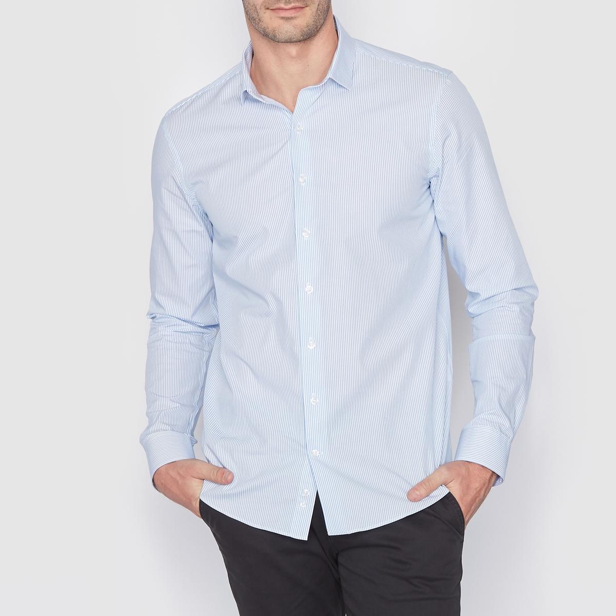 Рубашка в полоску стандартного покроя. Длинные рукаваРубашка из поплина, 100% хлопка . Стандартный (прямой) покрой . Свободные уголки воротника  . Длинные рукава . Длина 77 см .<br><br>Цвет: в полоску/розовый,синий в полоску<br>Размер: 47/48