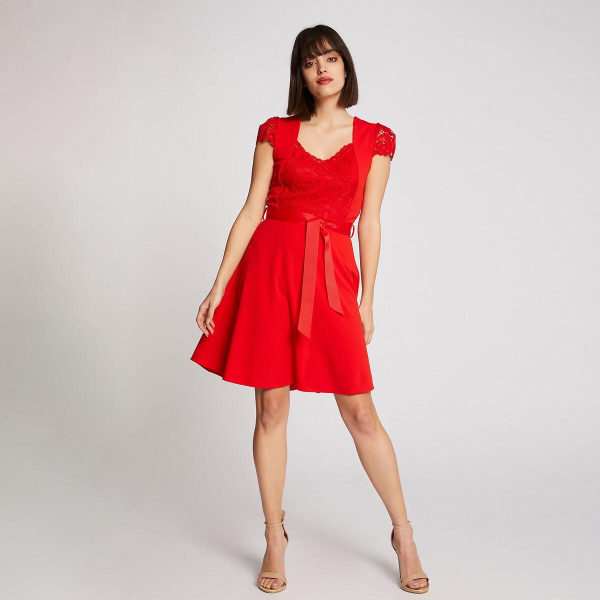 Платье LaRedoute Короткое расклешенное из двух материалов 36 (FR) - 42 (RUS) красный платье la redoute короткое расклешенное в горошек с ажурными бретелями 42 fr 48 rus синий
