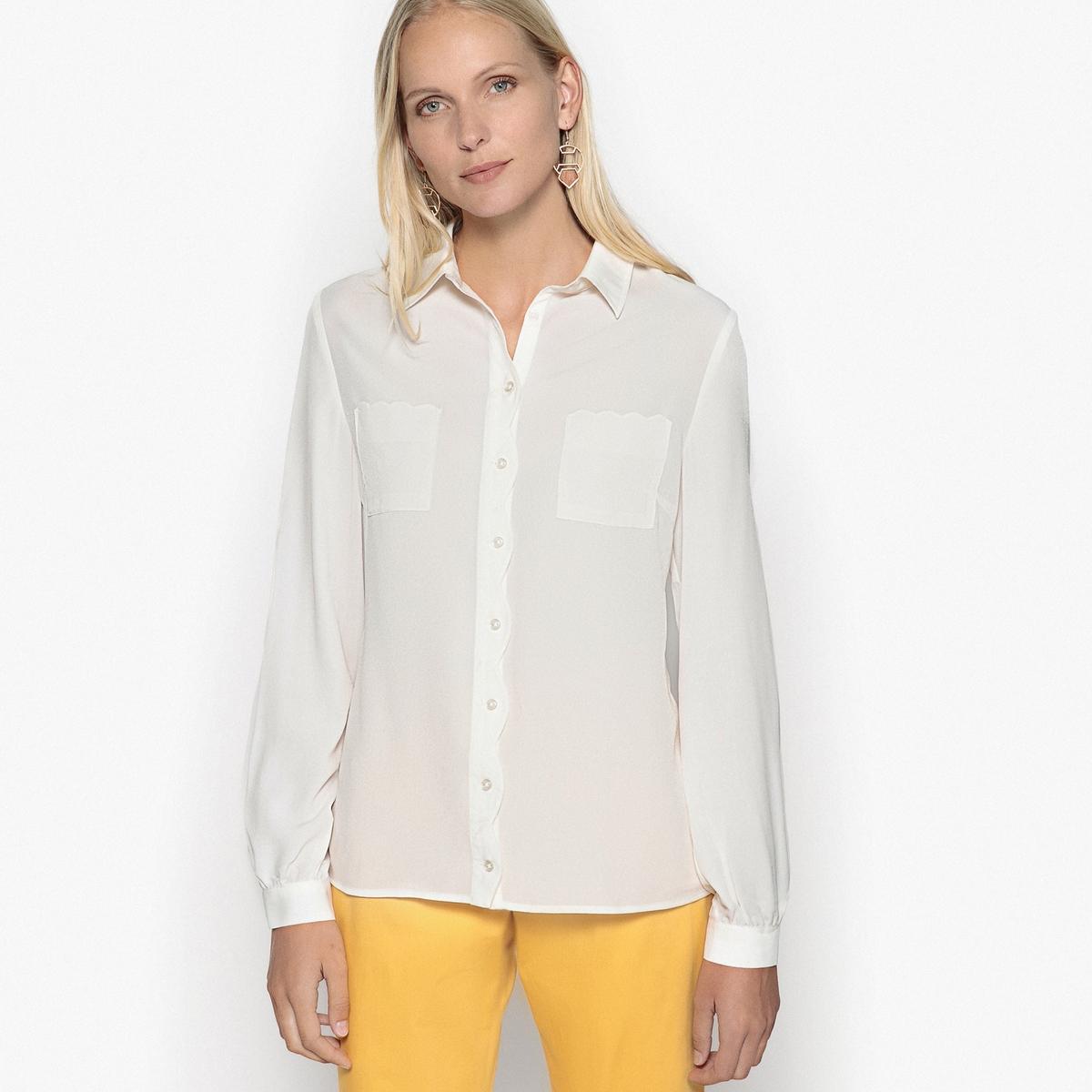 Camisa em crepe, mangas compridas