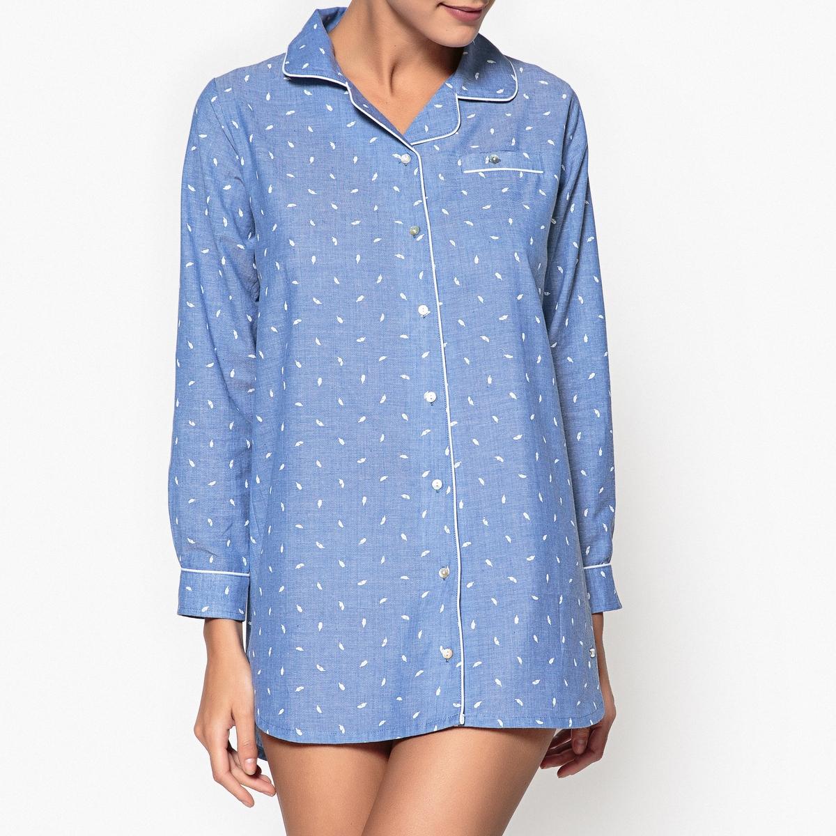 Сорочка ночная с рисунком перья из хлопка, Classic Mood