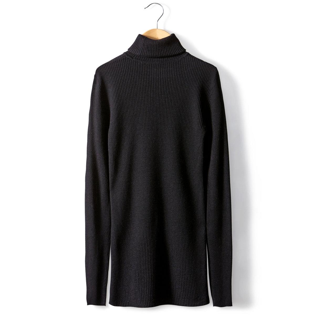 Пуловер-водолазка трикотажныйПуловер-водолазка. Трикотаж: 50% вискозы, 40% акрила, 10% мериносовой шерсти. Длинные рукава. Длина 68 см.<br><br>Цвет: слоновая кость,черный<br>Размер: 46/48 (FR) - 52/54 (RUS)
