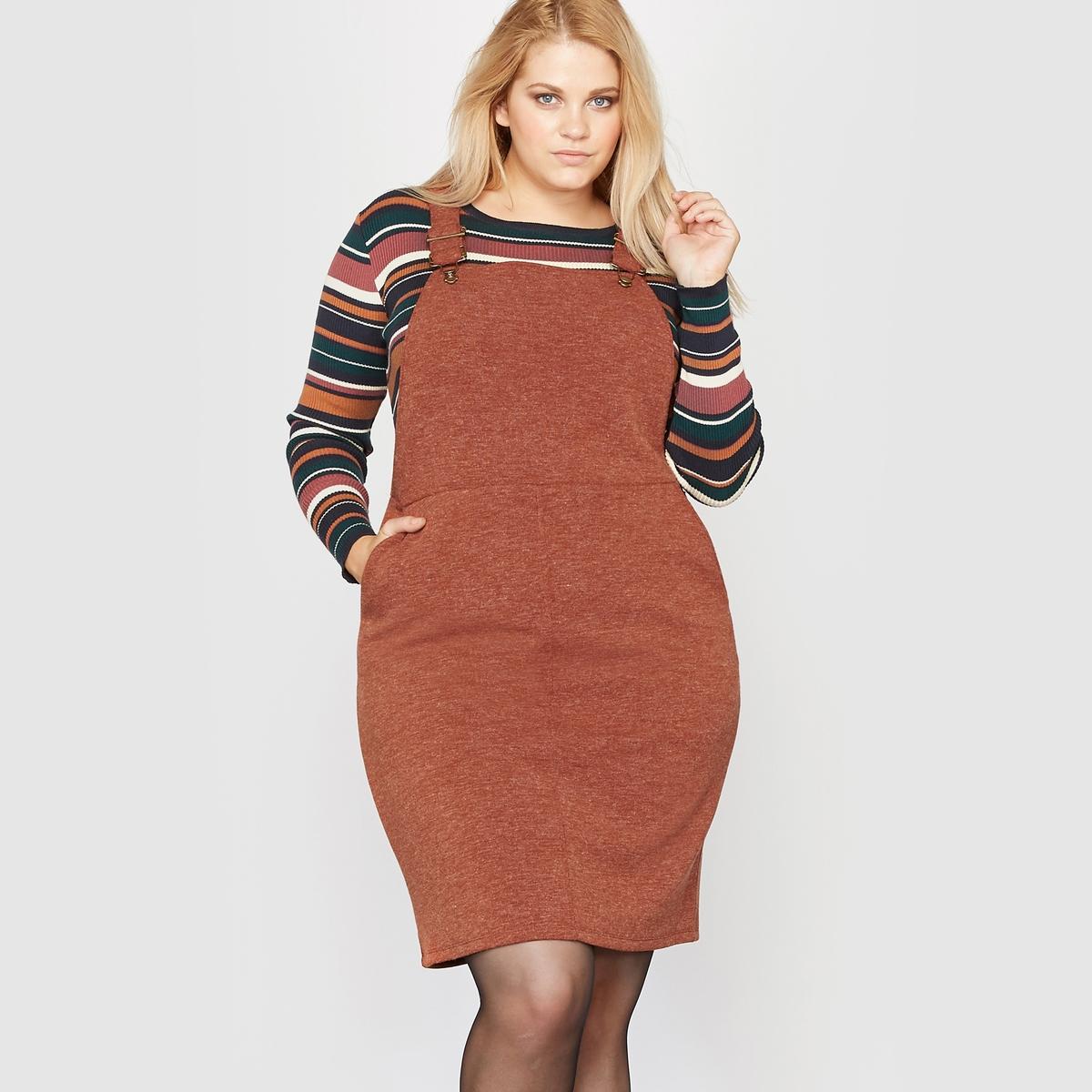 Платье-комбинезон из меланжевого трикотажаСостав и описание :Материал : узорная двухлицевая вязка, 88% полиэстера, 12% вискозы.Длина : 82 см для 48 размера. Марка : CASTALUNAУход :Машинная стирка при 30 °С в деликатном режиме.<br><br>Цвет: красно-коричневый<br>Размер: 42 (FR) - 48 (RUS)