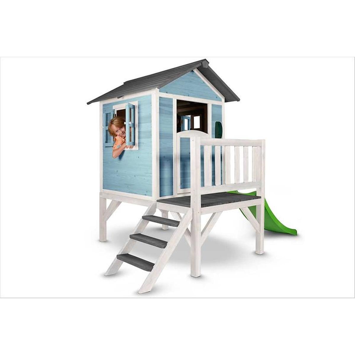 Cabane enfant sur pilotis bleue Lodge XL