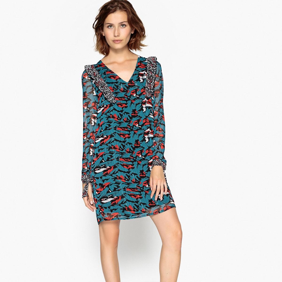 Платье прямое короткое, с длинными рукавами SUNCOO