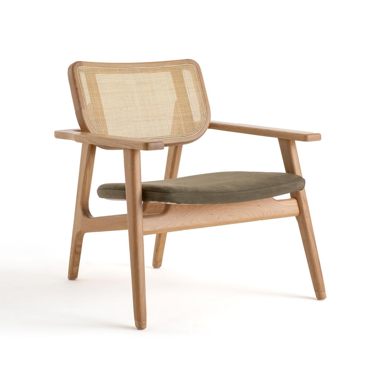 Кресло LaRedoute С покрытием из нубука Philas единый размер зеленый