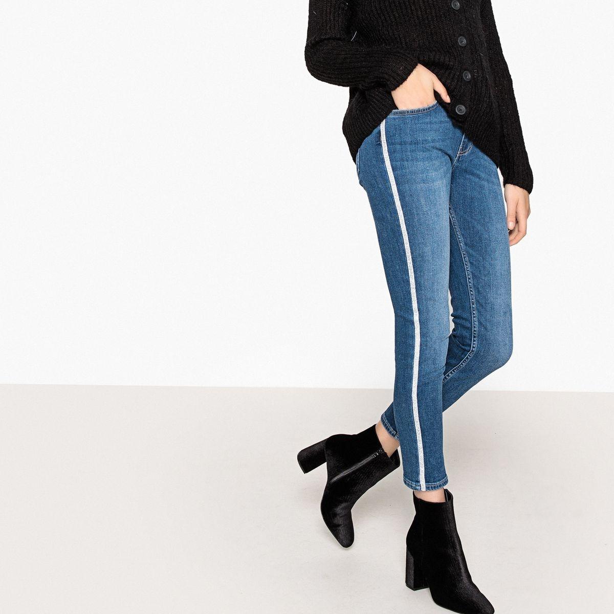 Jean slim longueur cheville, bande contrastante