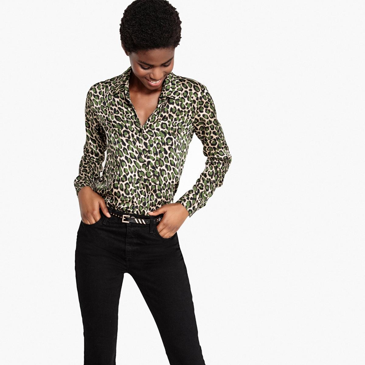 Рубашка с длинными рукавами и леопардовым принтом