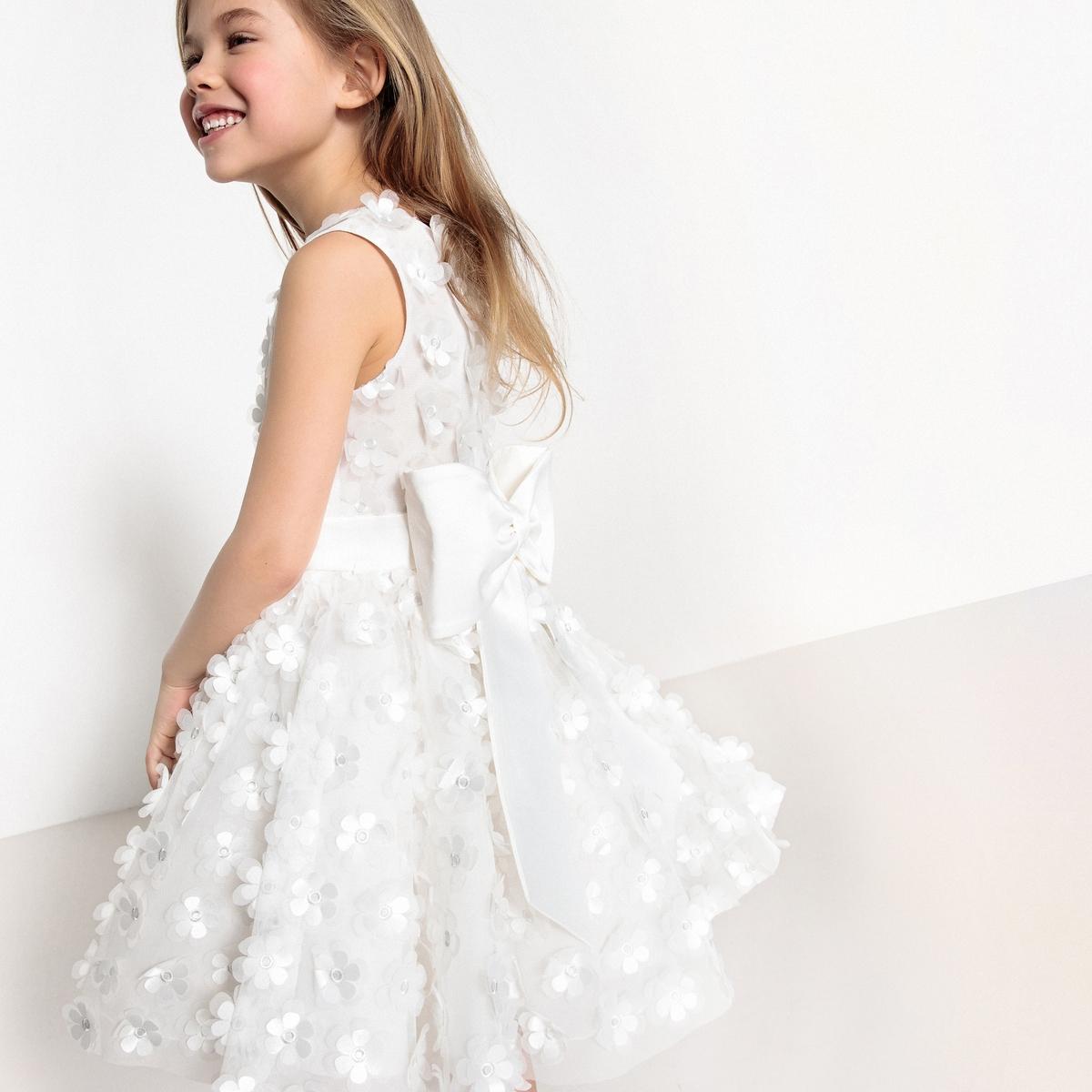 Платье нарядное с цветами, 3 - 12 лет