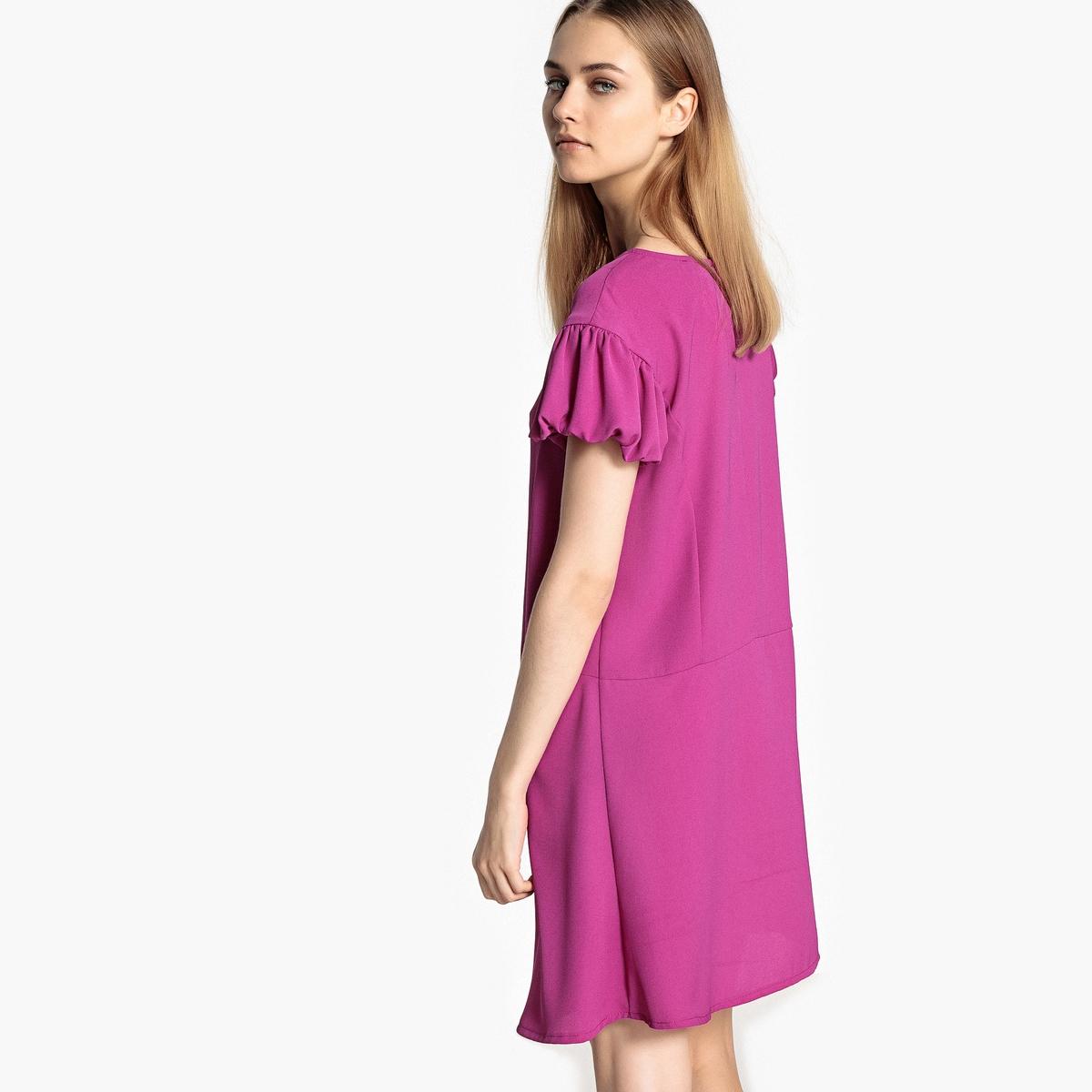 Платье прямое с оригинальными рукавамиДетали •  Форма : прямая  •  Длина до колен •  Короткие рукава    •  Круглый вырезСостав и уход •  100% полиэстер  •  Температура стирки 30°   •  Сухая чистка и отбеливание запрещены    •  Не использовать барабанную сушку   •  Низкая температура глажки<br><br>Цвет: красный,розовый фуксия,черный<br>Размер: 34 (FR) - 40 (RUS).46 (FR) - 52 (RUS).44 (FR) - 50 (RUS).42 (FR) - 48 (RUS).40 (FR) - 46 (RUS).38 (FR) - 44 (RUS).36 (FR) - 42 (RUS)
