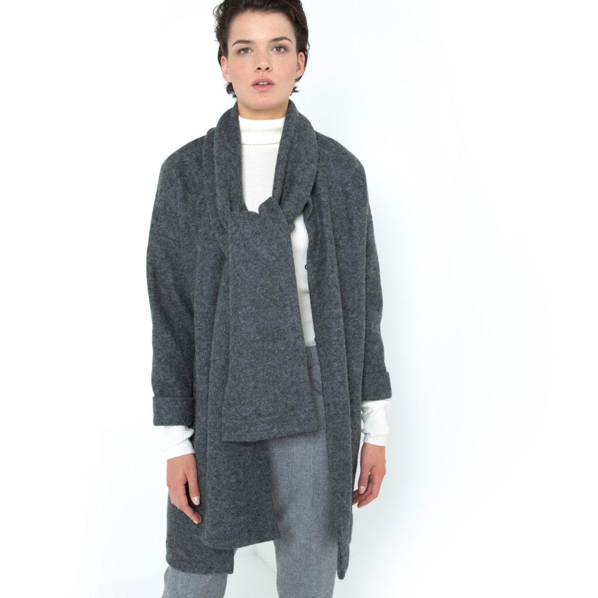 Пальто с шарфом<br><br>Цвет: серый<br>Размер: 42 (FR) - 48 (RUS)