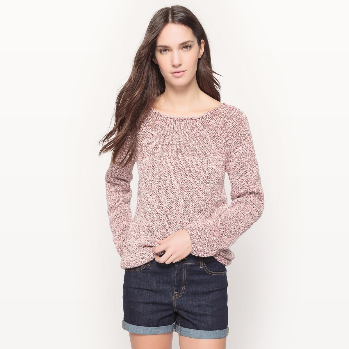 Пуловер с вырезом-лодочкой, эффект ленты из трикотажа