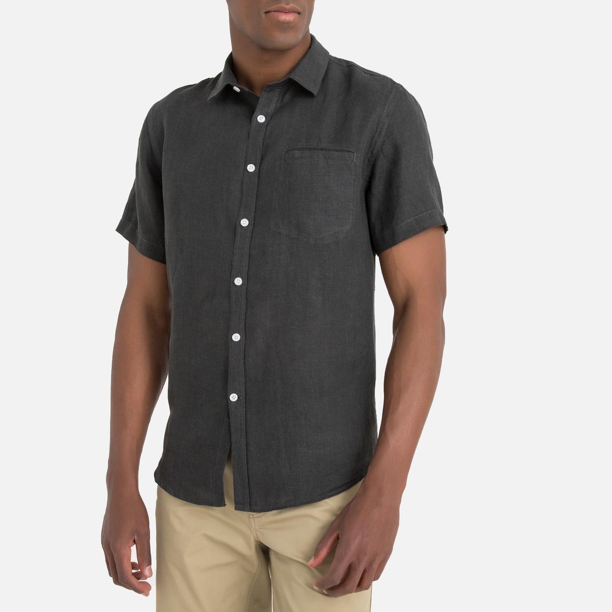 Camisa de mangas curtas, em linho, Clément