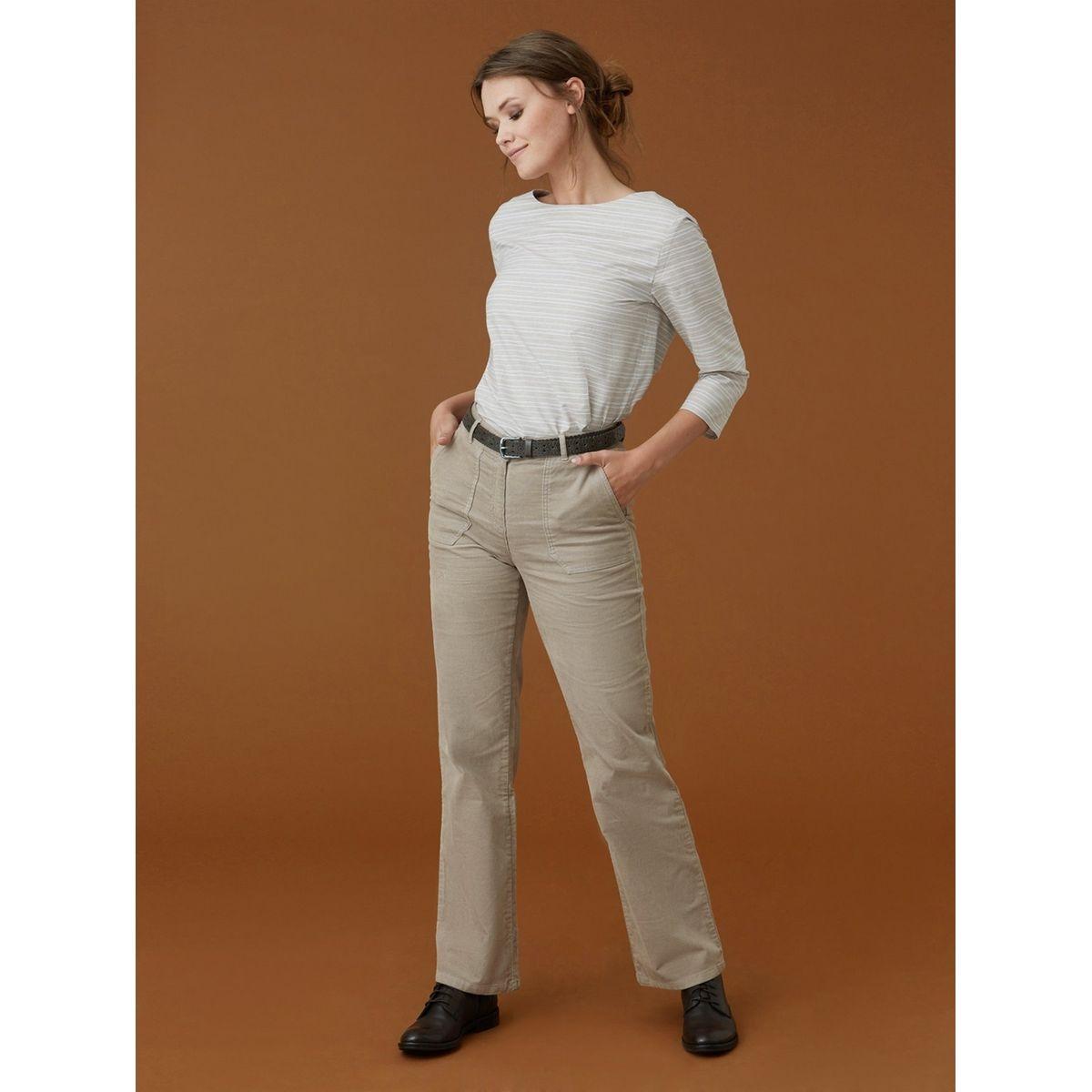 Pantalon femme velours côtelé coupe large, MINAMI