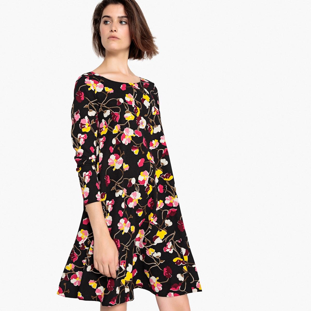 Платье с цветочным принтом, баской и декольте сзади meiller платье с баской